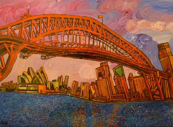 Sydney Opera House and Harbour Bridge at Sunset. (c) Alan Streets