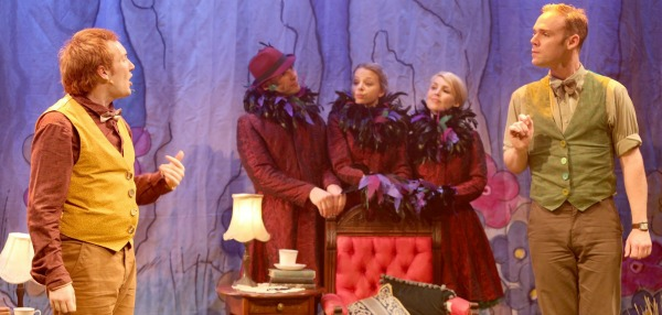 James Moody as Toad with Stephen Anderson as Frog and Jonathon Freeman, Crystal Hegedis and Lizzie Mitchell as the Birds