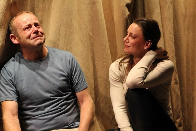 Huw Higginson and Amanda Stephens-Lee in ON THE SHORE OF THE WIDE WORLD. PIc Rebecca Martin