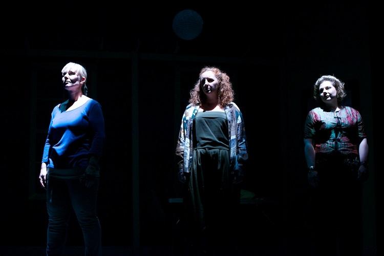 Sarah Purdue as Hilary, Melanie Robinson as Meg, and Gemma Munro as Pippa as the three sisters in Hannie Rayson's HOTEL SORRENTO. Pic Mark Banks