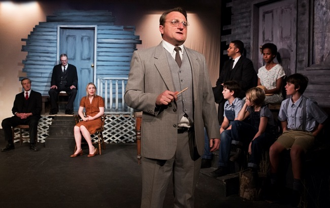 Lynden Jones delivers a strong performance as the brilliant Southern lawyer Atticus Finch in the classic, TO KILL A MOCKINGBIRD. Pic Bob Seary