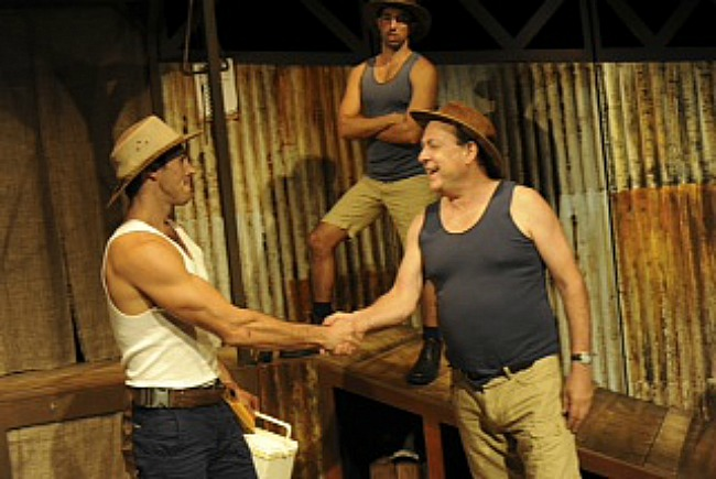 Nat Jobe (Bungo), Jeff Teale (Shaun) and Andrew James (Ratso) in PETE THE SHEEP. Pic Heidrun Lohr