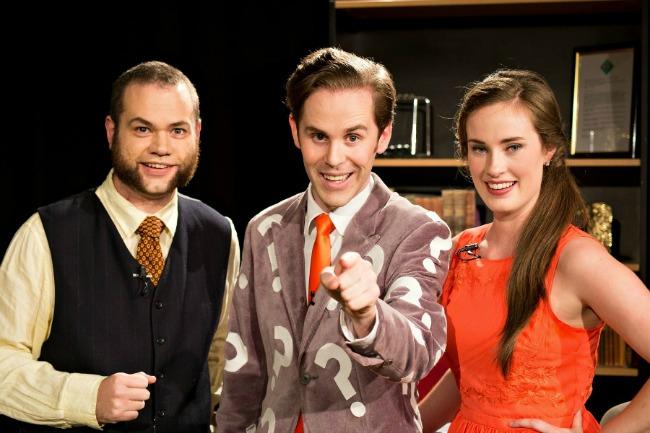 Moderator Anthony McCormack, host David M Green and scorekepper Sophie Loughran