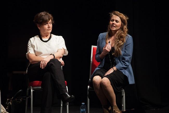 Fiona Press and Jessica Sullivan in David Williamson's FACE TO FACE. Pic Clare Hawley