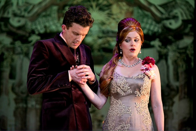 Leon Ford as Tartuffe tries to to seduce Orgon's wife Elmire, played by Helen Dallimore. Pic Lisa Tomasetti