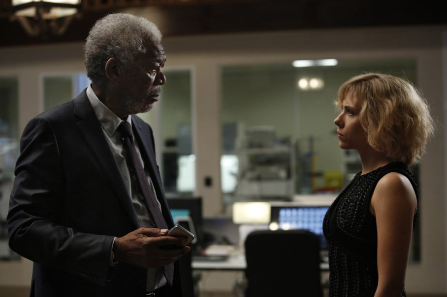 Morgan Freeman as Professor Norman and Scarlett Johansson in the title role in Luc Bessopn's new film, LUCY