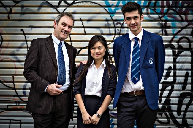 William Jordan as Mr Novak, Melody Ha as Sarah Novak and Louis Emerson-Chase as Ahmed/Andy in BLACK RAINBOW
