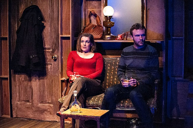 Pippa Grandison as highbrow European  actress Barbara and Andrew Henry as Douglas his besotted Aussie fan In the current revival of Michael Gow's 1987 play EUROPE. Pic Kurt Sneddon, Blueprint Studios