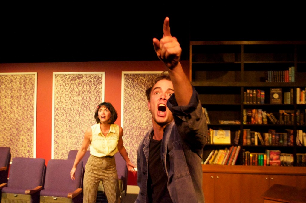 Angie Diaz and Callan Purcell in Checklist for an Armed Robber - Stooged Theatre