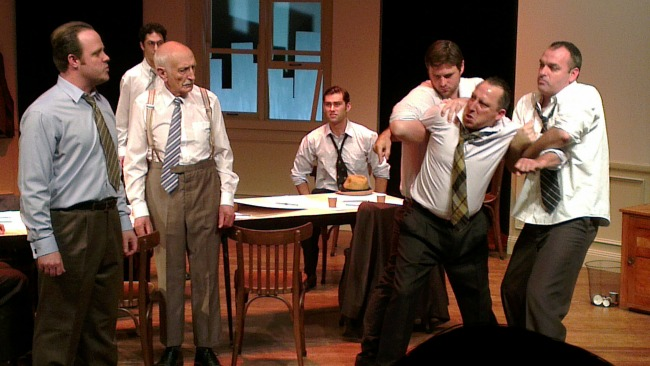 Jurists almost come to blows in Reginald Rose's classic courtroom drama, TWELVE ANGRY MEN