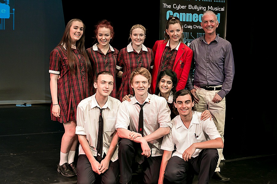 Student cast of CONNECTED with creator Craig Christie