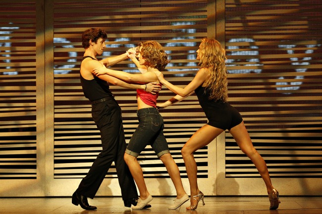 Kurt Phelan (Johnny), Kirby Burgess (Baby) and Natasha Coote (Penny) in DIRTY DANCING. Pic Jeff Busby