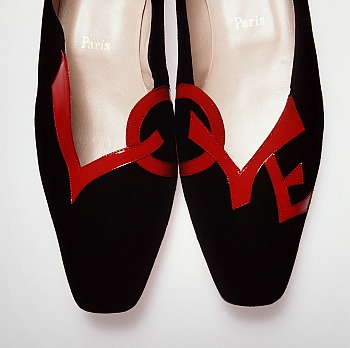 Shoes (pair) Womans Love Leather, Suede, Rubber, Christian Louboutin, designed in Paris, made in Italy, 1991-1996
