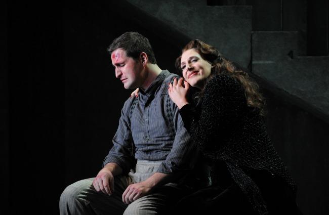 Inset Pic- Ricardo Massi as Cavradossi and Amanda Echalaz as Tosca. Featured Pic- David Parkin as Angelotti and Ricardo Massi as Cavradossi. Pics by Branco Gaica
