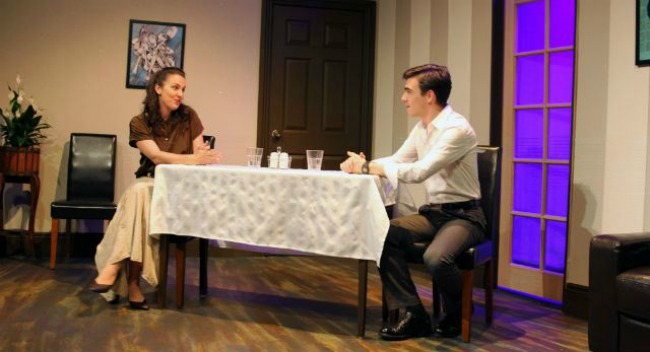 Rebecca Scott as Prudence and David Hooley as Bruce in BEYOND THERAPY