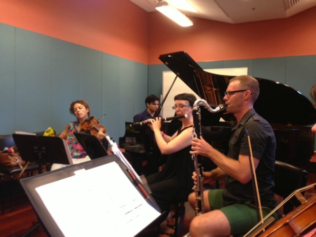 In rehearsal : Veronique Serret, Zubin Kanga, Jason Noble from Ensemble Offspring