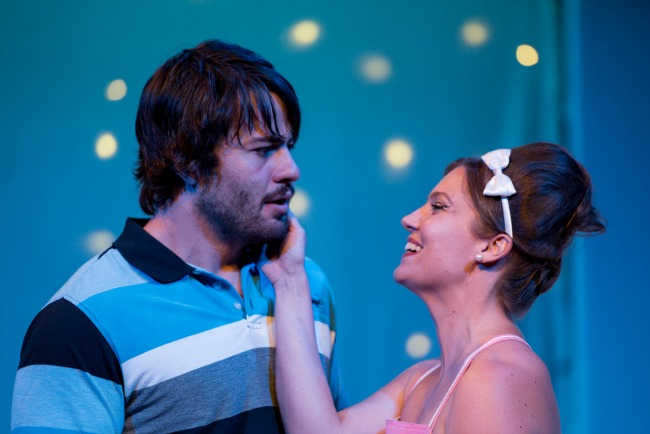 Jack McMahon as Demetrius and Catherine Davies as Helena. Photography by Mark Banks