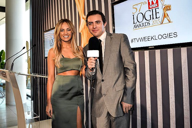 Inset pic- Jake Freeman  interviews Samantha Jade  who has been nominated for  most popular new talent for her performance in INXS- Never Tear Us Apart. Featured Pic- Amanda Keller and the Block judge Shaynne Blaze emceed the event