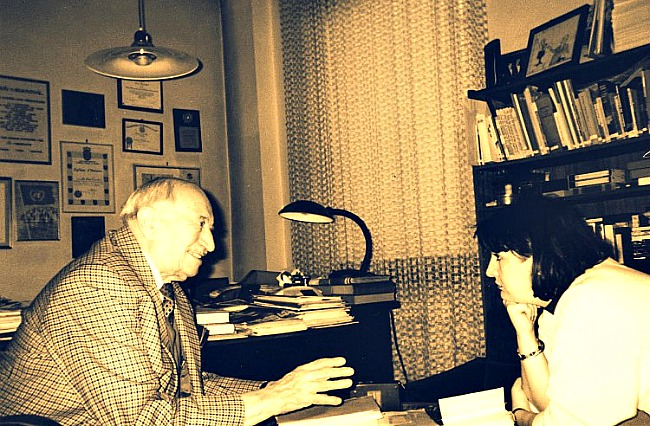 Nazi hunter Simon Wiesenthal in conversation with filmmaker Inna Rogatch