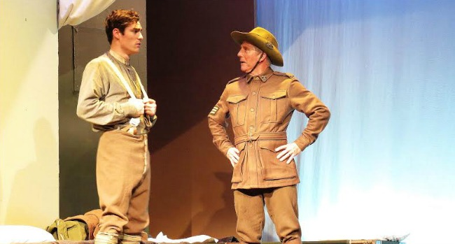 Ryan Bown as Simpson, Rob White as Sgt Hookway. Photos: Grant Fraser