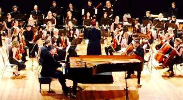 TMO Chief Conductor Sarah-Grace Williams with piano soloist Bernard Walz