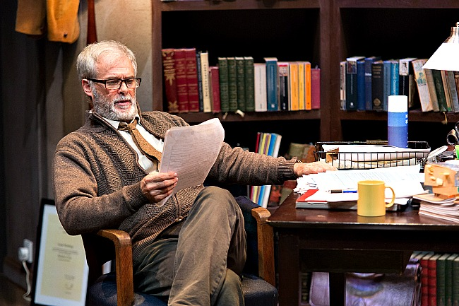Professor Frank (Mark Kilmurry) isn't used to reading essays quite like the ones that Rita (Catherine McGraffin) writes