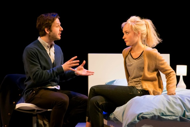 Inset pic- Olivia Vinall plays Hilary. Featured pic- Damien Malony plays Spike and Olivia Vinall as Hilary in The Hard Problem