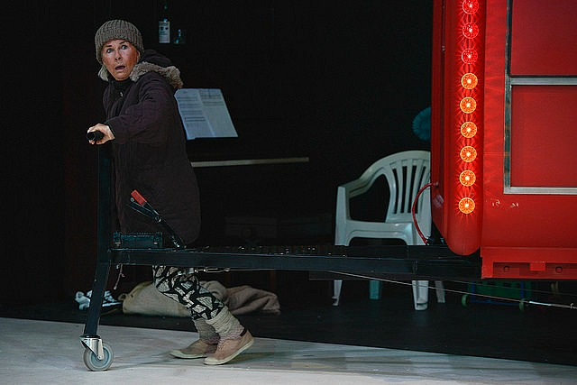 Robyn Nevin as Mother Courage forever carting around  her wagon.  Featured pic- Emele Ugavule as Mother Courage's mute daughter Kattrin. Production photos by Heidrun Lohr