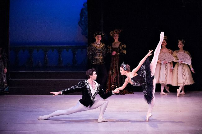 Inset  pic- Cristiano Martino and Benedicte Bemet in Swan Lake. Featured pic- Artists of the Dance Company in Paquita. Pic by Frank Monger