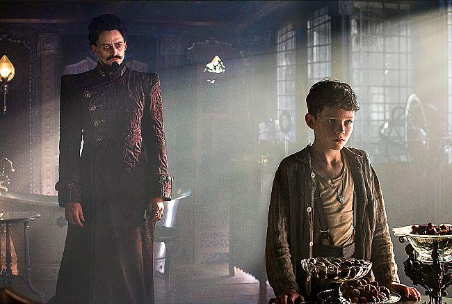 Hugh Jackman as Blackbeard and Levi Miller as Peter Pan in Pan