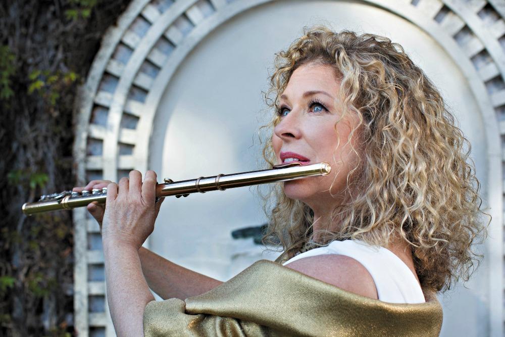 Jane Rutter Flautist at Elydene Gardens, Gordon NSW for ABC CD cover 2014