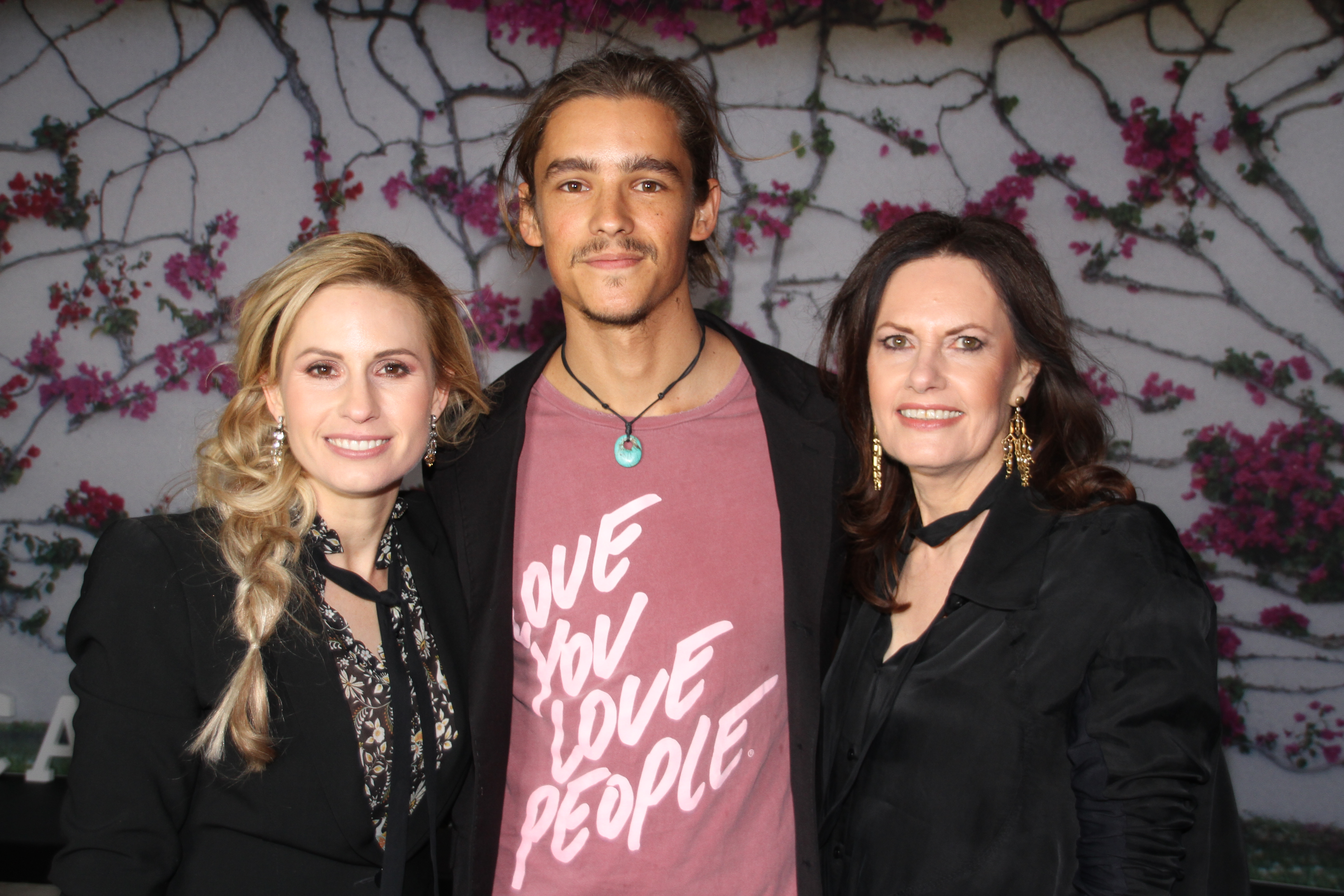 left to right Heath Ledger's sister Kate, last year's winner Brenton Thwaites and Heath and Kate's mum Sally Bell