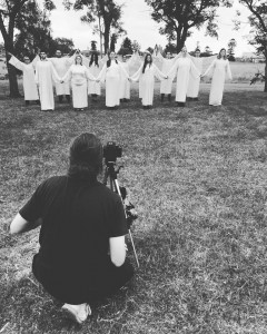 The cast of The Laramie Project filming our trailer