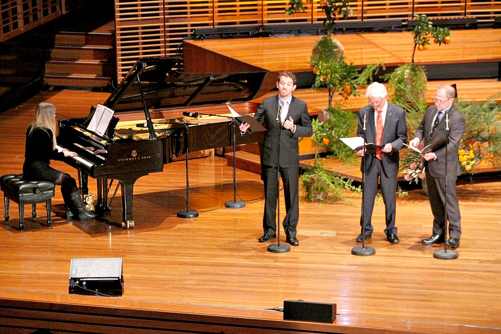 David & Justice Peter Hidden, Judge David Cameron with Sophie Spargo on piano.