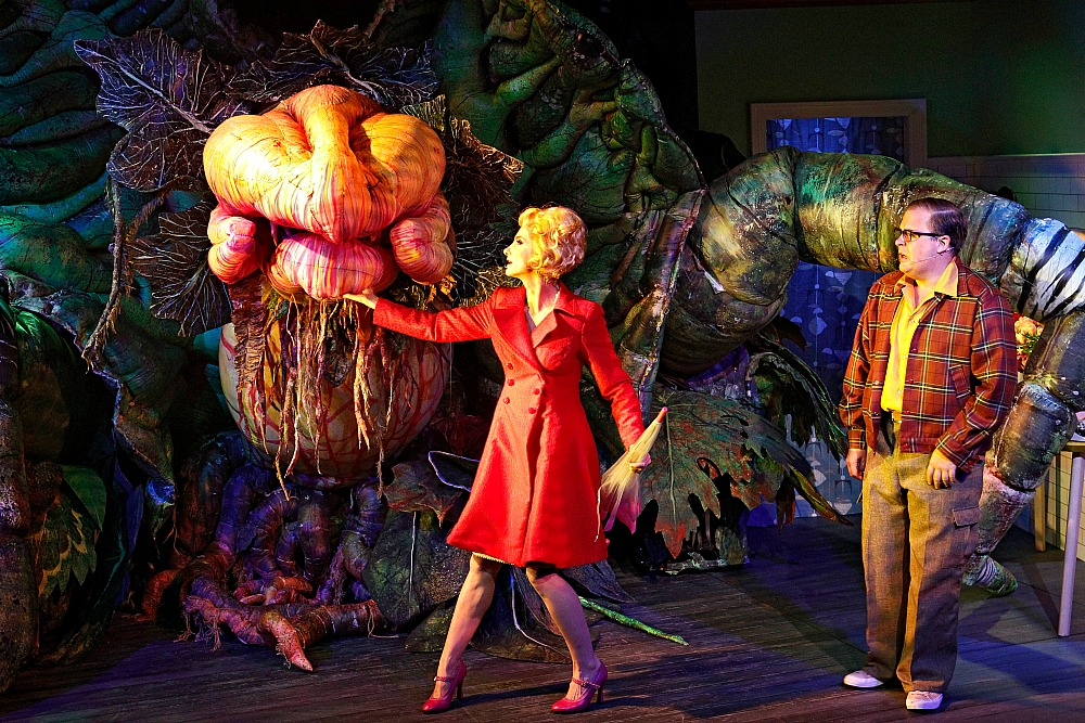 Audrey-II-Esther-Hannaford and Brent-Hill. Production photography by Jeff Busby.